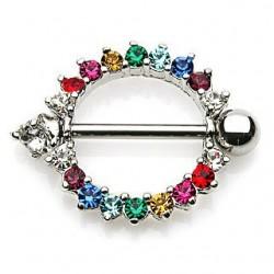 Kolczyk do sutka - Kolorowe kryształki PX517