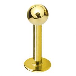 Złoty tytanowy labret z gwintem wewnętrznym, z kulką