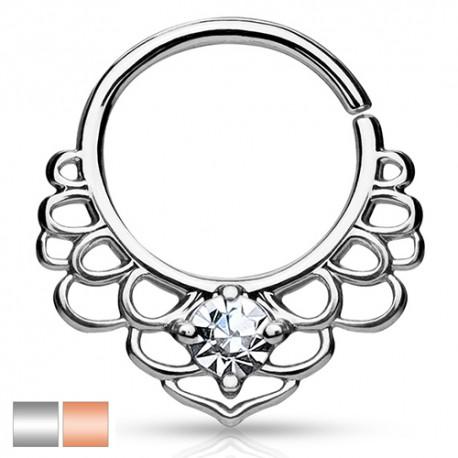 Kółko rozginane - ażurowe z kryształkiem
