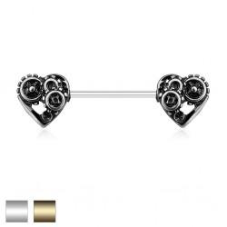 Kolczyk do sutka - steampunkowe serca PX545