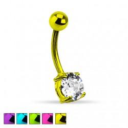 Kolczyk do pępka - Neonowy z kryształkiem PB503