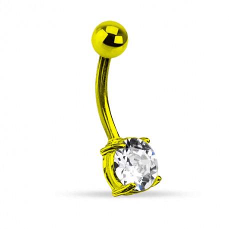 Kolczyk do pępka - Neonowy z kryształkiem