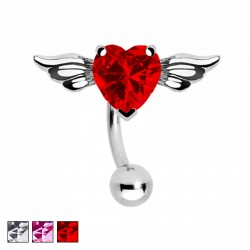Kolczyk do pępka - Serce ze skrzydłami PB525