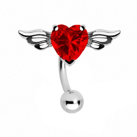 Kolczyk do pępka - Serce ze skrzydłami