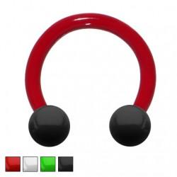 Podkówka - Devil Red z kolorowymi kulkami PP151