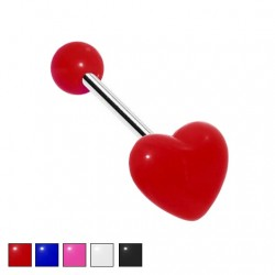 Kolczyk do języka - Kolorowe serce PJ559