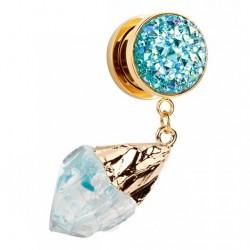 Plug - turkusowy lodowy kryształ TT561