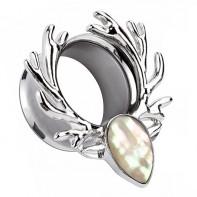 Tunel - srebrne poroże z białą masą perłową