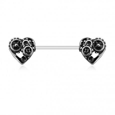 Kolczyk do sutka - steampunkowe serca