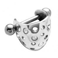 Kolczyk do ucha - półkulista ozdoba z kryształkami