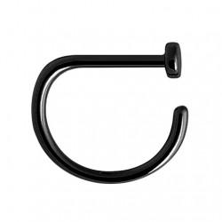 Tytanowy czarny kolczyk do nosa - D-ring PN408