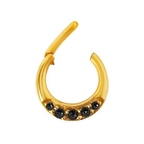 Septum clicker - Złoty z kryształkami