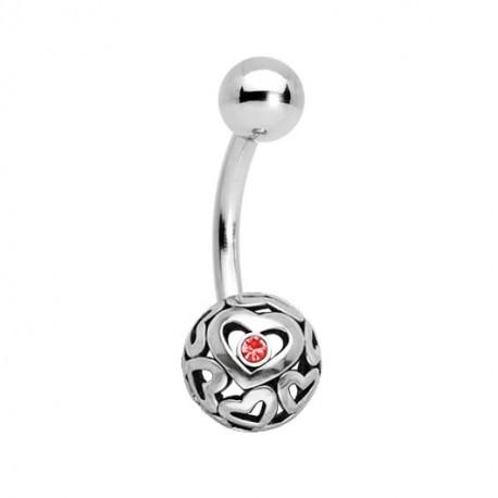 Kolczyk do pępka - Ażurowa kulka z sercem