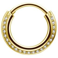 Złoty clicker z białymi kryształkami PN543