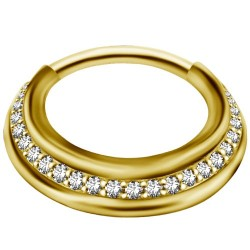Złoty clicker z białymi kryształkami