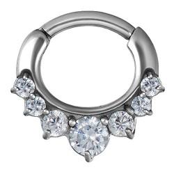 Srebrny clicker z siedmioma kryształkami PN561