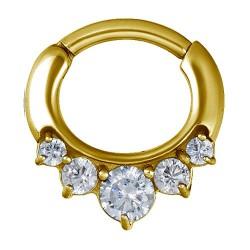 Złoty clicker z pięcioma kryształkami