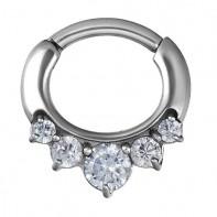Srebrny clicker z pięcioma kryształkami