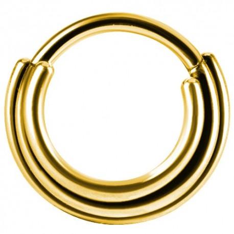 Złoty clicker do septum - trzy kółka