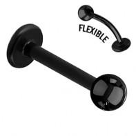 Czarny labret z bioflexu ze stalową kulką