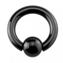 Stalowe czarne kółko z kulką - Duże rozmiary PK507