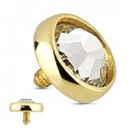 Nakrętka na microdermal - z 14K złota, z cyrkonią