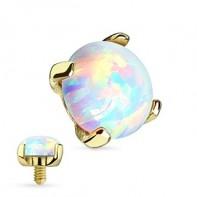 Nakrętka na microdermal - ze złota 14K, z opalem