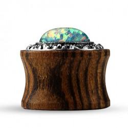 Drewniany plug - z zielonym opalem