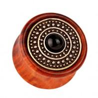 Drewniany plug - z czarną kropką