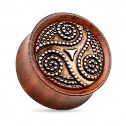 Drewniany plug - Triskelion z palisandru TT926