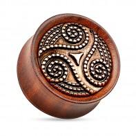 Drewniany plug - Triskelion z palisandru