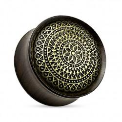 Drewniany plug - Mandala z hebanu TT928