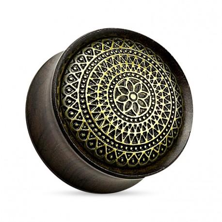 Drewniany plug - Mandala z palisandru