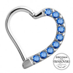 Srebrne serce z kryształkami - clicker