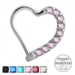 Srebrne serce z kryształkami - clicker KU575