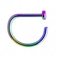 Tytanowy tęczowy kolczyk do nosa - D-ring