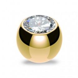 Złota stalowa kulka z kryształkiem PD517 A
