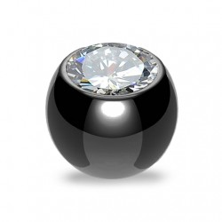Czarna stalowa kulka z kryształkiem PD517 B