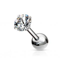 Srebrny kolczyk z okrągłym kryształkiem KU585 A