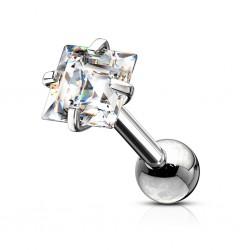 Srebrny kolczyk z kryształkiem - kwadracik KU586 A