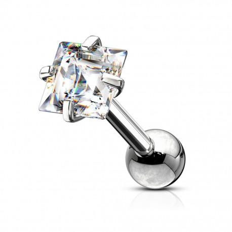 Srebrny kolczyk z kryształkiem - kwadracik