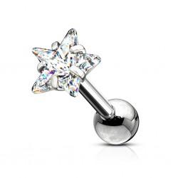 Srebrny kolczyk z kryształkiem - gwiazdka KU587 A