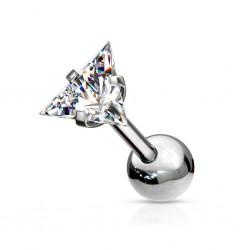 Srebrny kolczyk z kryształkiem - trójkącik KU588 A