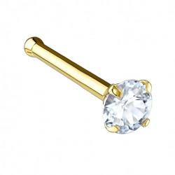 Kolczyk do nosa - Złoty z kryształkiem PN732