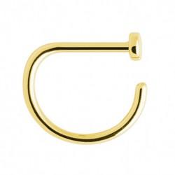 Tytanowy złoty kolczyk do nosa - D-ring PN407