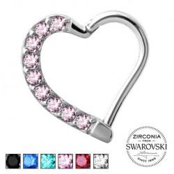 Srebrne serce z kryształkami - clicker KU576