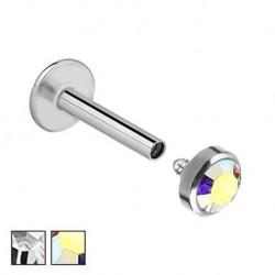 Labret z kryształkiem - Gwint wewnętrzny PW412
