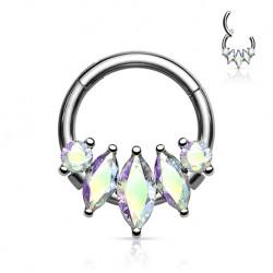 Srebrny clicker z podłużnymi kryształkami PK571 A