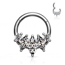 Srebrny clicker z podłużnymi kryształkami PK571 B