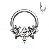 Srebrny clicker z podłużnymi kryształkami